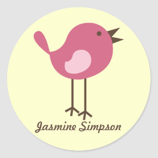 Name Labels/Stickers Pink Bird - Design Classic Round Sticker