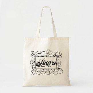 Name Laura in black inside stylish frame Budget Tote Bag