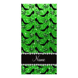 Name lime green glitter black high heels bow photo card