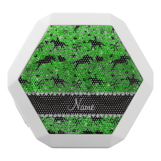 Name lime green glitter equestrian hearts bows white boombot rex bluetooth speaker