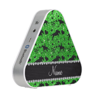 Name lime green glitter equestrian hearts bows bluetooth speaker