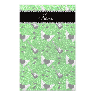 Name lime green glitter guitars heart wings music customized stationery