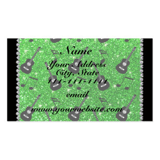 Name lime green glitter guitars music notes pack of standard business cards