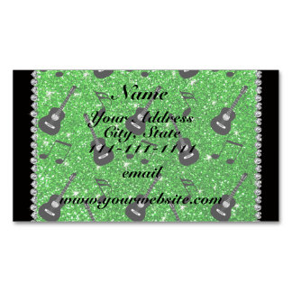 Name lime green glitter guitars music notes magnetic business cards