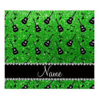Name lime green glitter guitars music notes poster