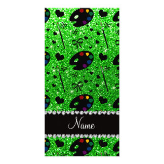 name lime green glitter painter palette brushes photo greeting card