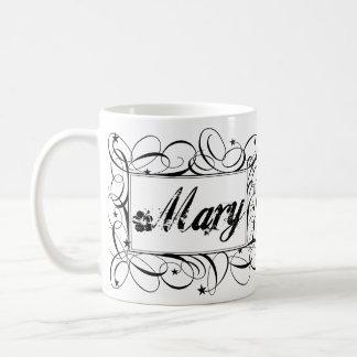 Name Mary in black inside stylish frame Basic White Mug