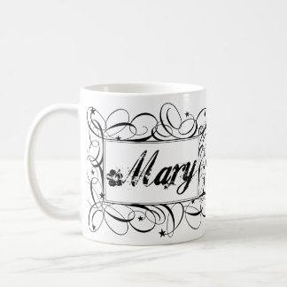 Name Mary in black inside stylish frame Classic White Coffee Mug