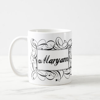 Name Maryam in black inside stylish frame Basic White Mug
