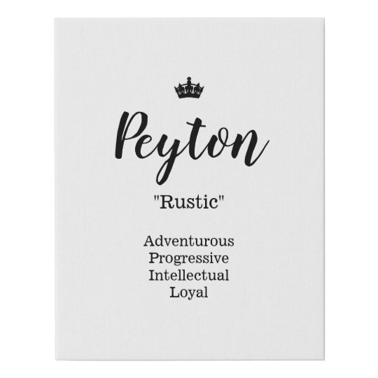 Name Meaning Canvas Picture - Peyton   Zazzle.co.uk
