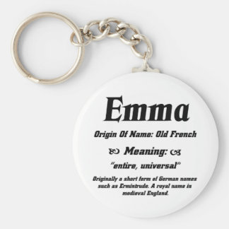 Name Meaning 'Emma' Basic Round Button Key Ring