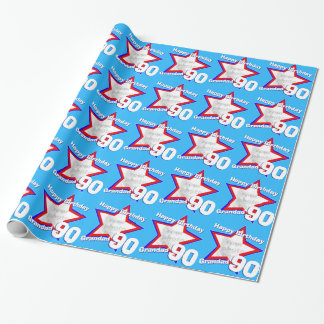 Name mens double figure 90 age photo star pattern wrapping paper