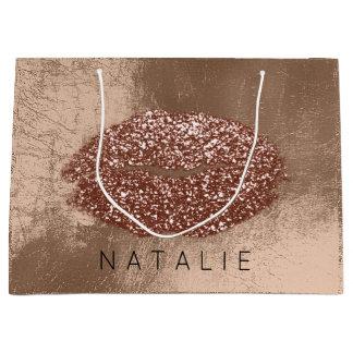 Name Metal Kiss Lips Glitter Skinny Bronze Gold Large Gift Bag