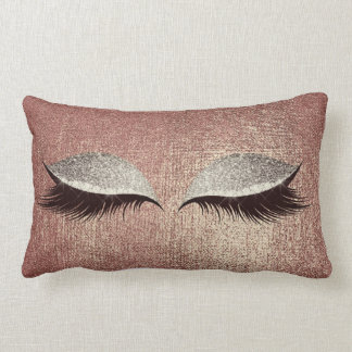 Name Metallic Glitter Rose Gold Eyes Makeup Lashes Lumbar Cushion