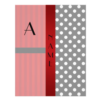 Name monogram black white polka dots red stripes flyer