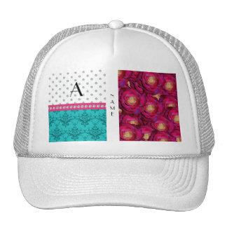 Name monogram pink roses turquoise damask trucker hats