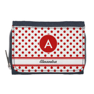 Name Monogram Polka Dot Red White Background Wallet
