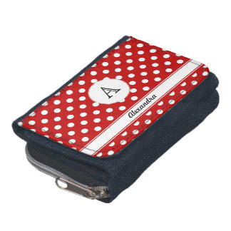 Name Monogram Polka Dot White Red Background Wallet