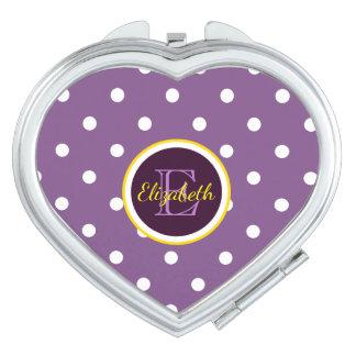 Name & Monogram Purple Polka Dots Heart Shaped Travel Mirror
