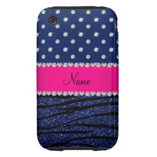 Name navy blue diamonds zebra navy blue glitter iPhone 3 tough cover