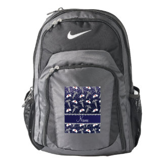 Name navy blue glitter nurse hats silver caduceus backpack