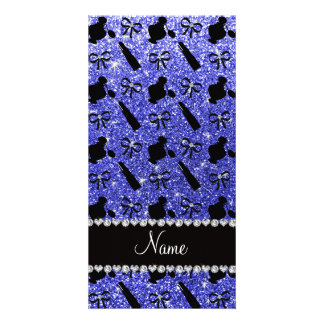 Name neon blue glitter perfume lipstick bows personalised photo card