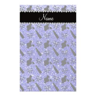 Name neon blue glitter perfume lipstick bows customized stationery