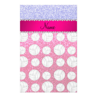 Name neon blue neon hot pink glitter volleyballs stationery design