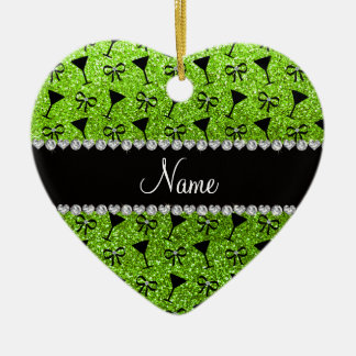 name neon green glitter cocktail glass bow christmas ornament