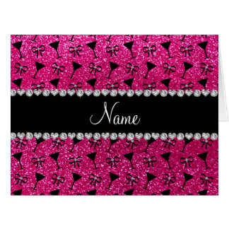 name neon hot pink glitter cocktail glass bow big greeting card