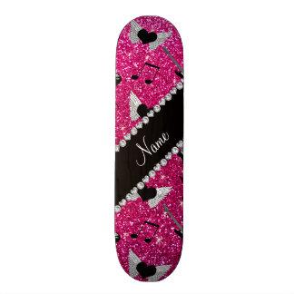 Name neon hot pink glitter guitars heart wings 19.7 cm skateboard deck