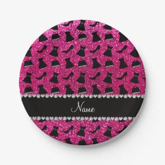 Name neon hot pink glitter high heels dress purses paper plate