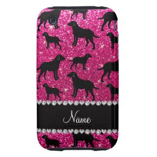 Name neon hot pink glitter labrador retrievers tough iPhone 3 cases