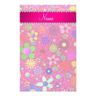 name neon hot pink glitter retro flowers stationery design