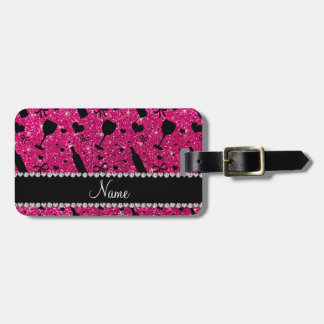 name neon hot pink glitter wine glass bottle bag tag