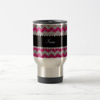 Name neon hot pink silver glitter chevrons mug