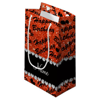 Name neon orange glitter happy birthday balloons small gift bag