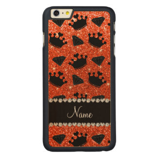Name neon orange glitter princess crowns diamonds iPhone 6 plus case