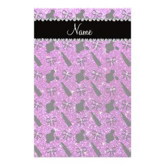 name neon purple glitter perfume lipstick bows personalized stationery