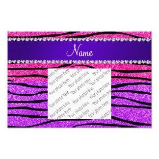 Name neon purple hot pink glitter zebra stripes photo