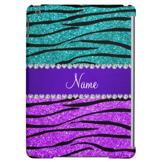Name neon purple turquoise glitter zebra stripes case for iPad air