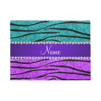 Name neon purple turquoise glitter zebra stripes doormat