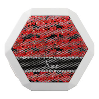 Name neon red glitter equestrian hearts bows