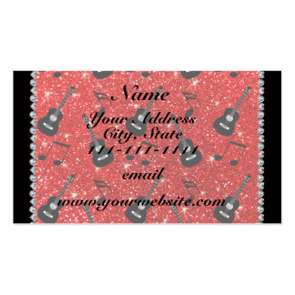 Name neon red glitter guitars music notes pack of standard business cards