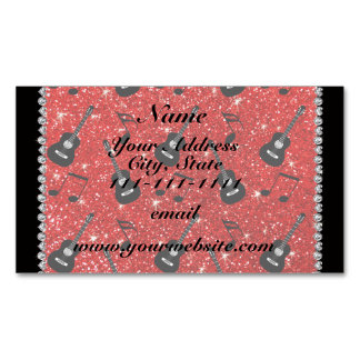 Name neon red glitter guitars music notes magnetic business cards
