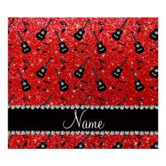 Name neon red glitter guitars music notes poster
