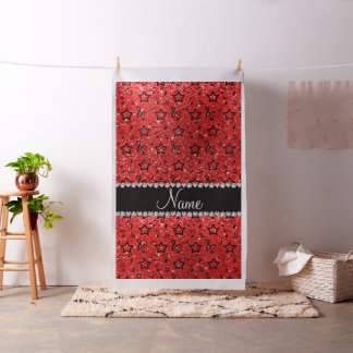 Name neon red glitter music notes stars fabric