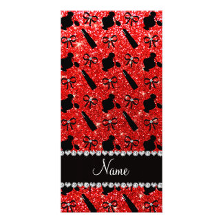 name neon red glitter perfume lipstick bows customized photo card