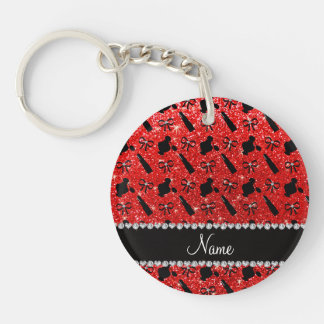 name neon red glitter perfume lipstick bows Double-Sided round acrylic keychain