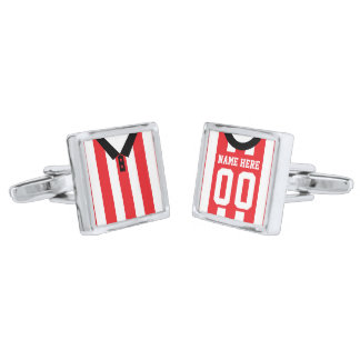 Name & Number Football Jersey Cuff Links Silver Finish Cuff Links